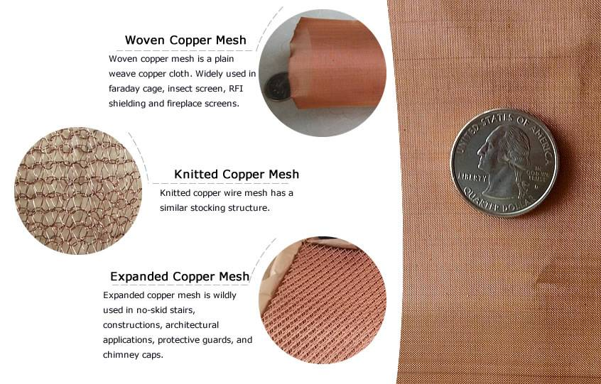 There are four kind of copper meshes with their type introductions.