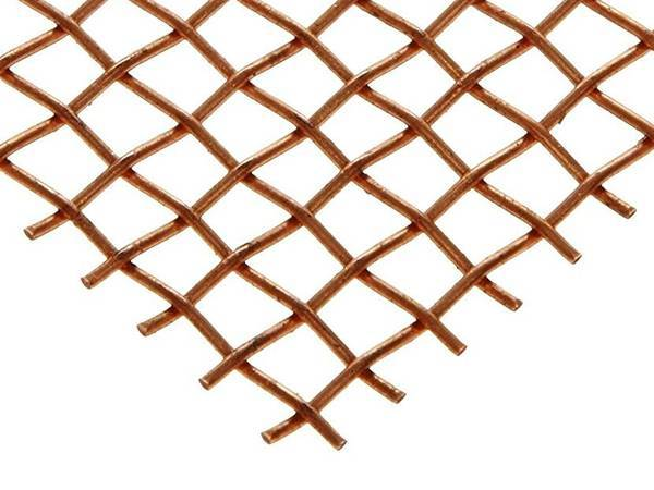 A piece of crimped wire mesh with plain weave