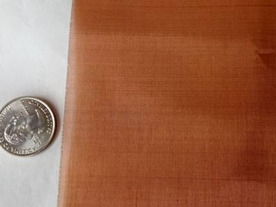 A piece of fine copper mesh is beside a metal coin.
